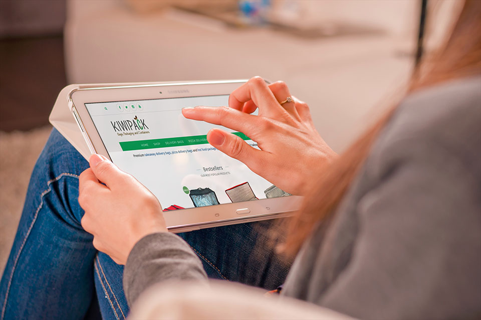 new kiwipack website on ipad screen