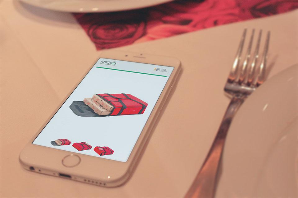 kiwipack website on a mobile phone screenshot